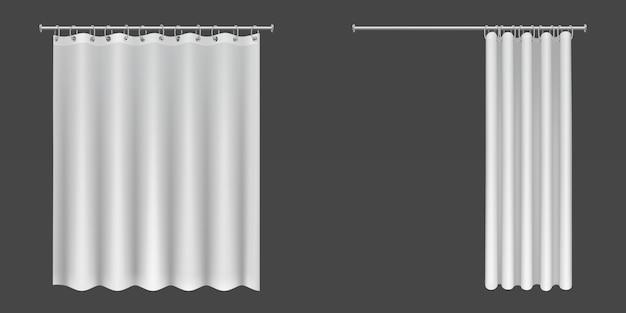 Открытые и закрытые белые занавески для душа Бесплатные векторы