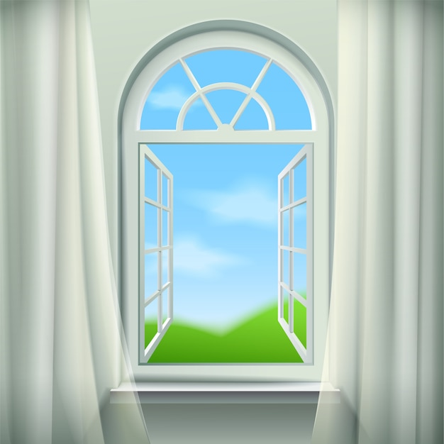 Open arched window background Free Vector