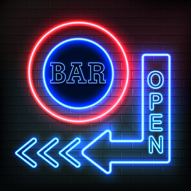 Open bar neon night signboard in arrow shape showing direction on brick wall background realistic vector illustration Premium Vector
