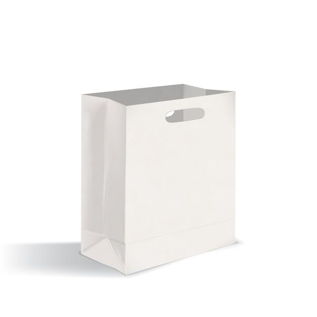 型抜きハンドル付きの空の平底テイクアウト紙バッグを開きます。きれいなパッケージは、白い背景で隔離。現実的なモックアップ。広告、コーポレートアイデンティティの表現のベクトルイラスト。 Premiumベクター