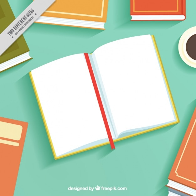 Open book background in flat design Vector | Free Download