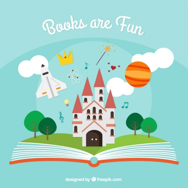 Open book background with fantasy elements Free Vector