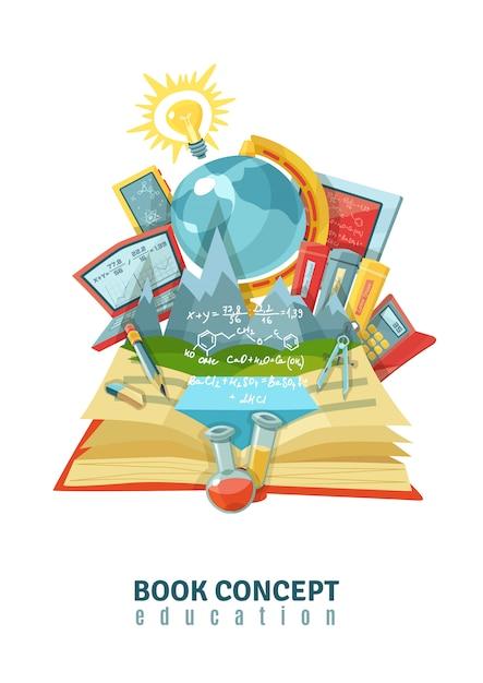 Open book education illustration Free Vector