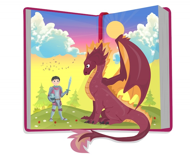 Open book of fairytales with knight and dragon vector illustration Premium Vector