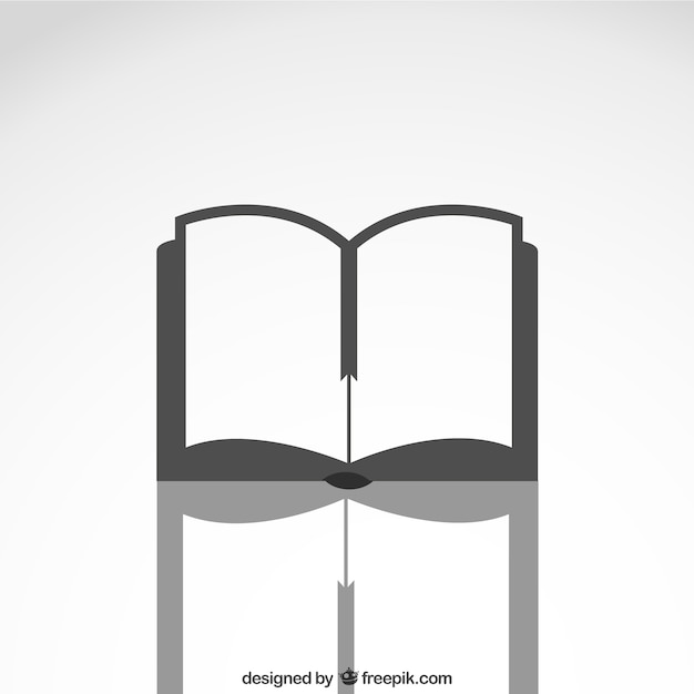 Open book icon with reflection  Free Vector
