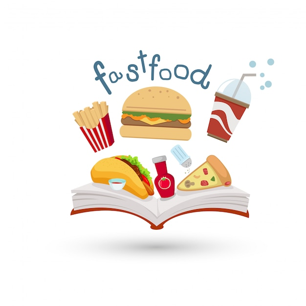 Open book and icons of fast food Premium Vector