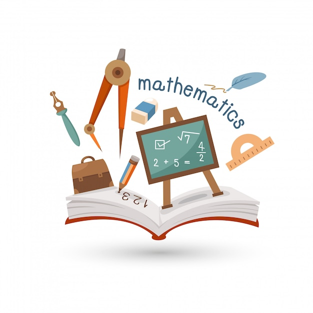 Open book and icons of mathematics Premium Vector