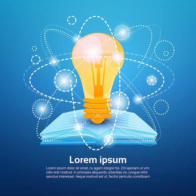 Open book light bulb school education knowledge concept Premium Vector