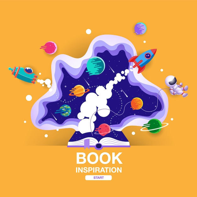 Open book, space background, school, reading and learning Premium Vector