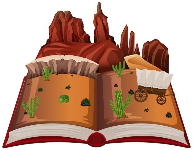Open book western desert theme Free Vector