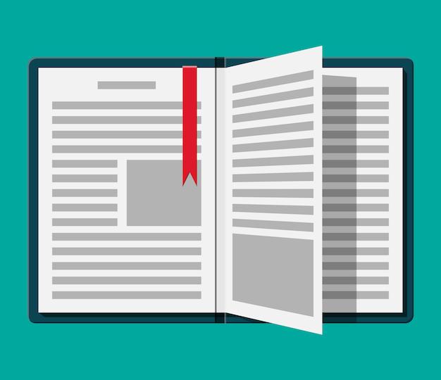 逆さまのページとブックマークで本を開きます。 Premiumベクター