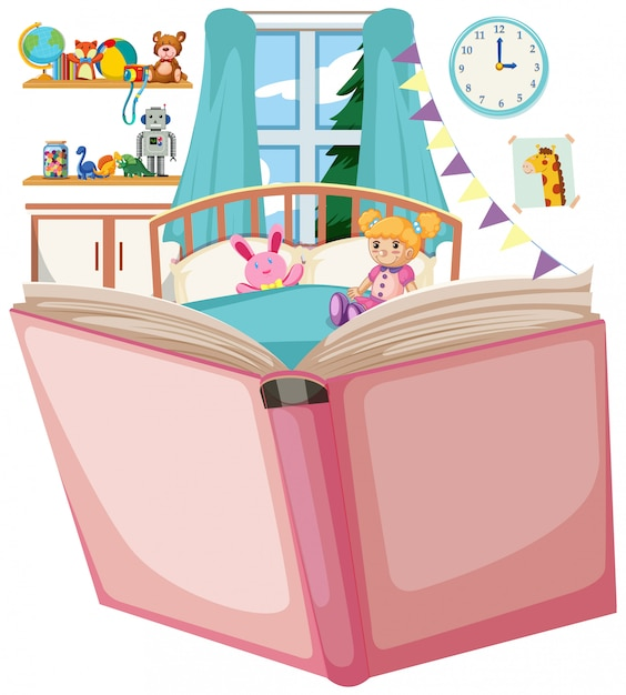 Open book with bedroom theme Free Vector