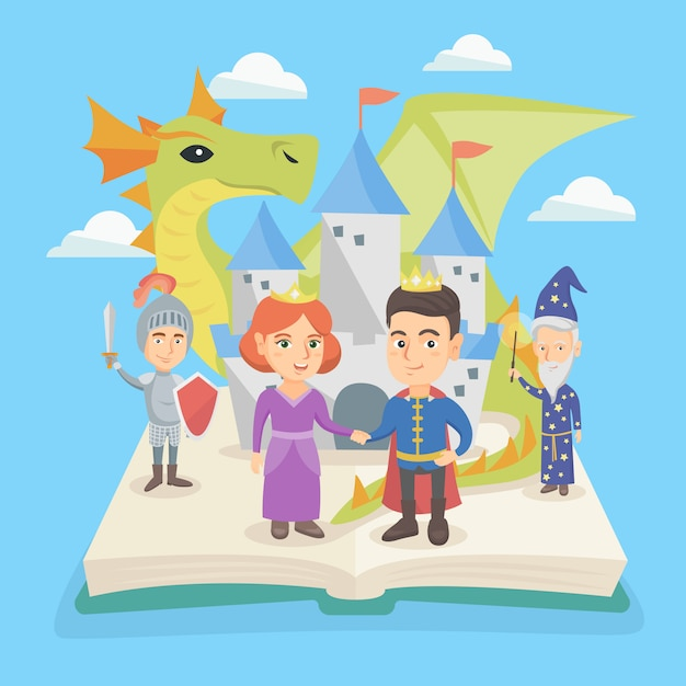 Open book with castle and characters of fairytale. Premium Vector