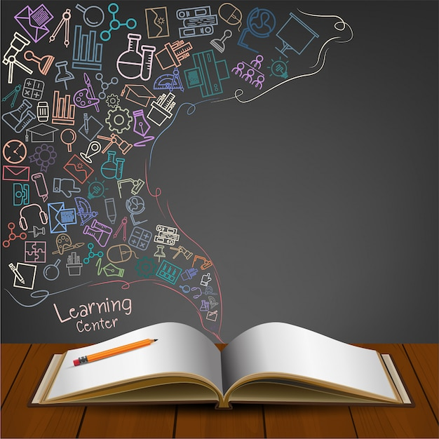 Open book with icon doodles. Premium Vector
