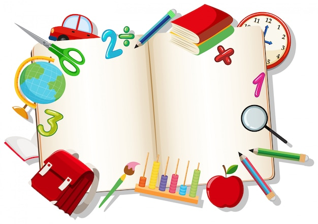Open book with learning element Free Vector