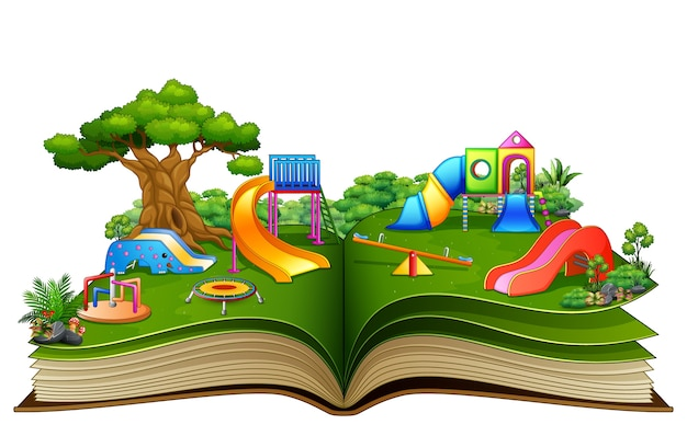 Open book with playground on a white background | Premium Vector