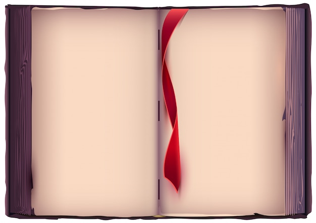 Open book with red bookmark. Premium Vector