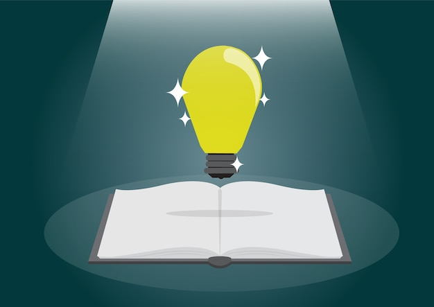 Open book with shining bulb flying out. Premium Vector