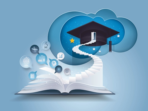 Open book with stair to graduation cap Premium Vector