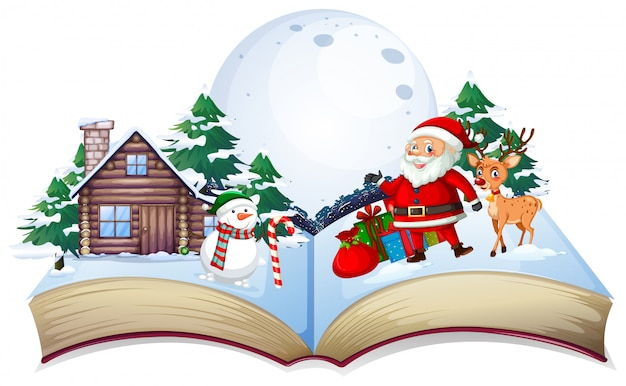 Open book xmas theme Free Vector
