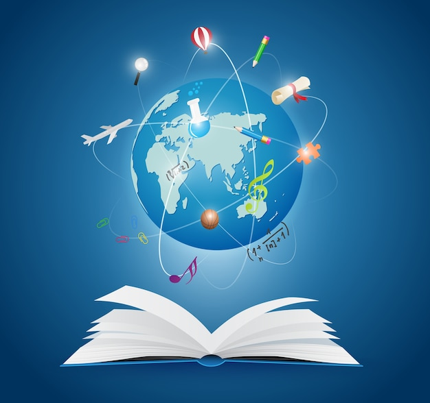 Open books with world of science Premium Vector