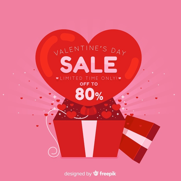 Open box valentine's day sale background Free Vector