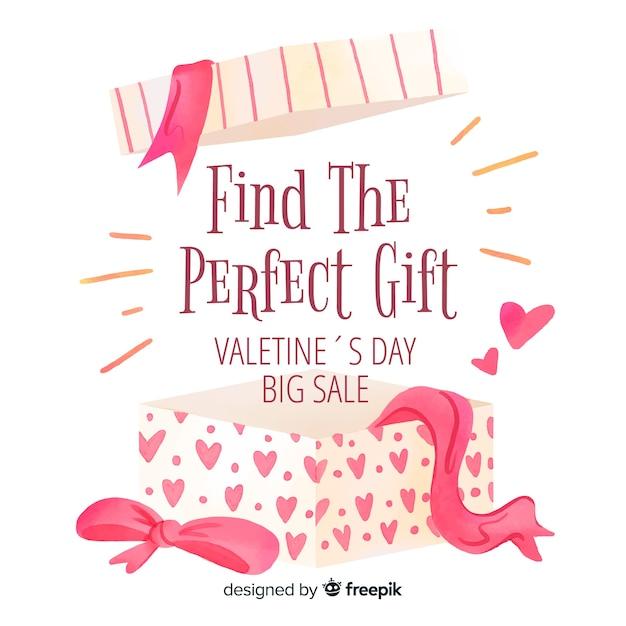 Open box valentine sale background Free Vector