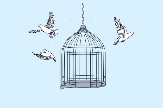 Открытая клетка с летающими изнутри голубями птицами Premium векторы