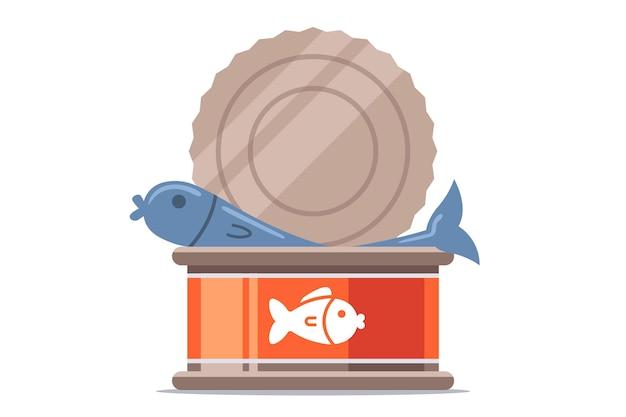 Открытые рыбные консервы. плоский Premium векторы