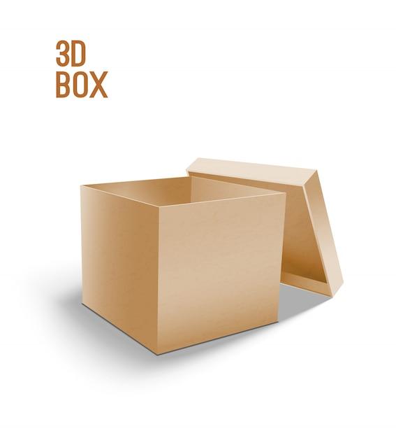 Open cardboard box. 3d model of box. Premium Vector