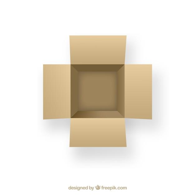 open cardboard box. open cardboard box in top view free vector