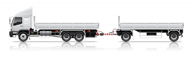 Open cargo trailer illustration Premium Vector