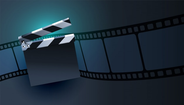 Open clapper board with film strip background design Free Vector