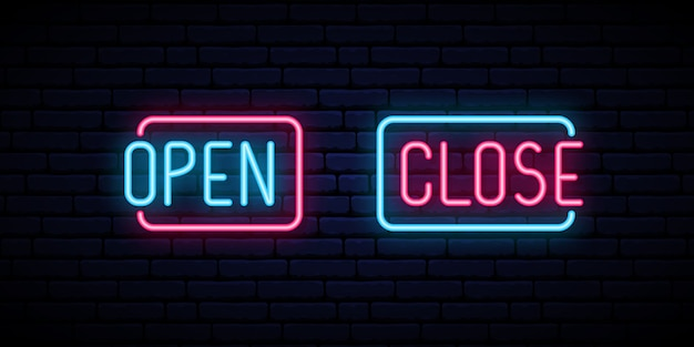 Open and close neon iscription on brick wall background. Premium Vector