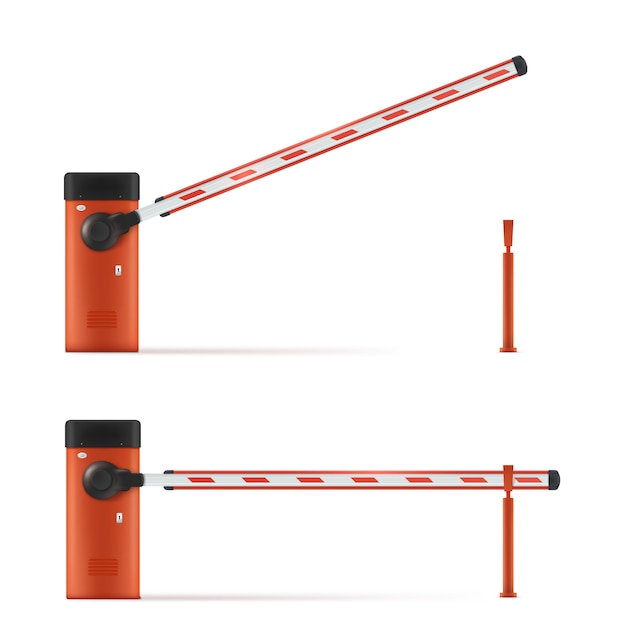 Open and closed car barrier Premium Vector