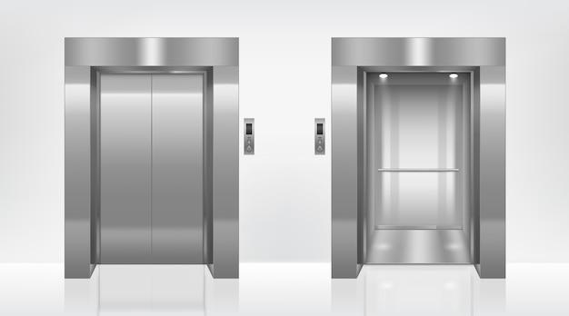 Porte dell'ascensore aperte e chiuse nel corridoio dell'ufficio Vettore gratuito