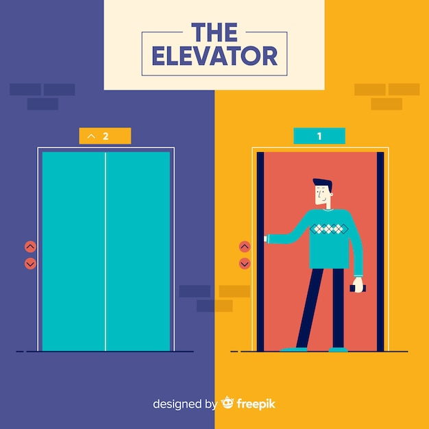 Open and closed elevator with flat design Free Vector