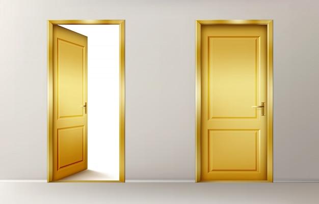 Open and closed golden doors Free Vector