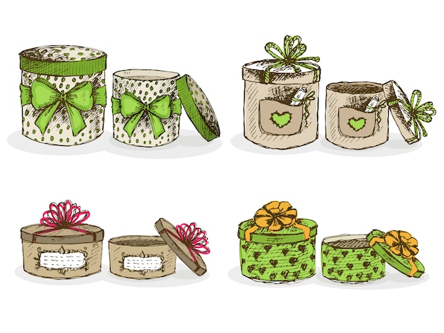 Open and closed hat boxes with decor Free Vector