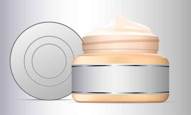 Open cream jar glass container  beauty product Vector
