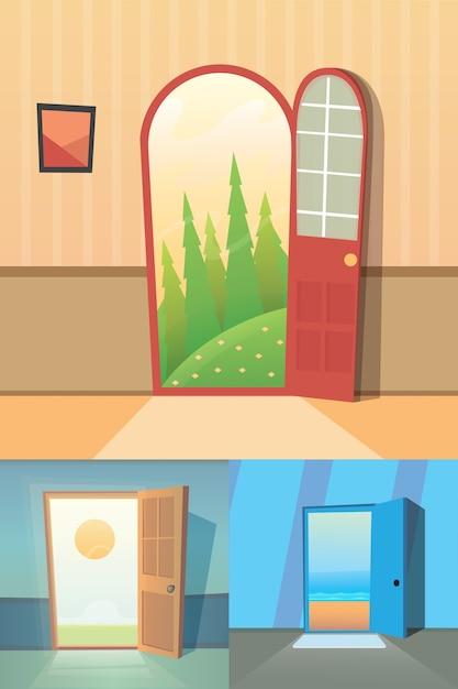 オープンドアの漫画コレクション。 4つのかわいいドアのセット。 Premiumベクター