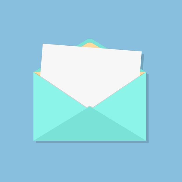 Open envelope with white sheet Premium Vector