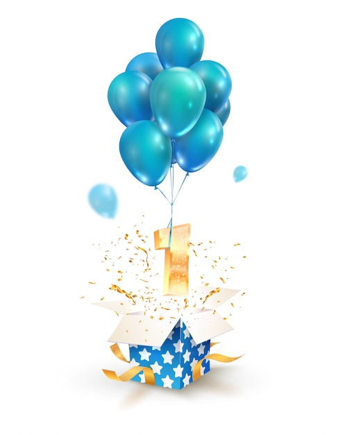 Open gift box with number one flying on balloons Premium Vector