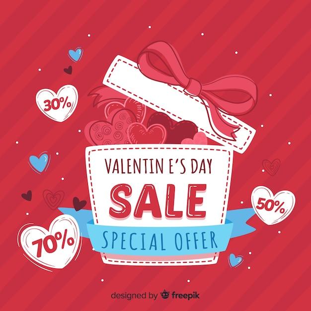 Open gift valentine sale background Free Vector