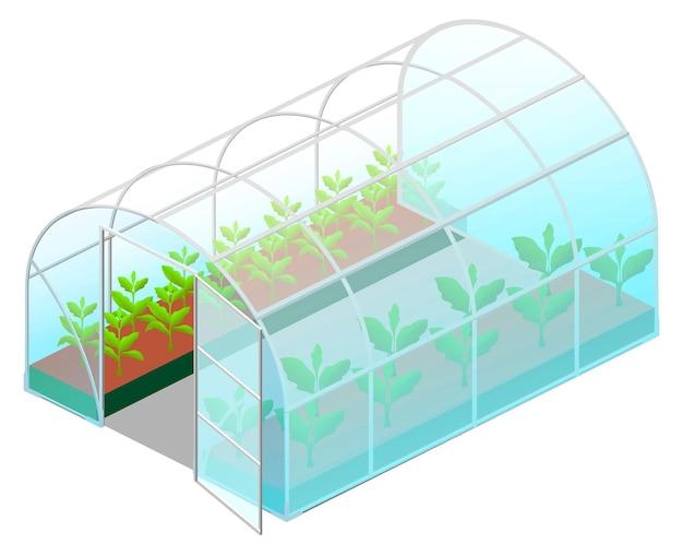 흰색 절연 등각 투영 뷰에서 녹색 식물을 가진 온실 유리를 엽니 다 프리미엄 벡터