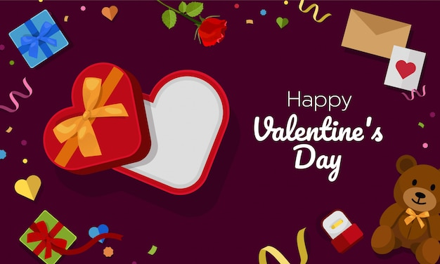 Open heart gift box Premium Vector