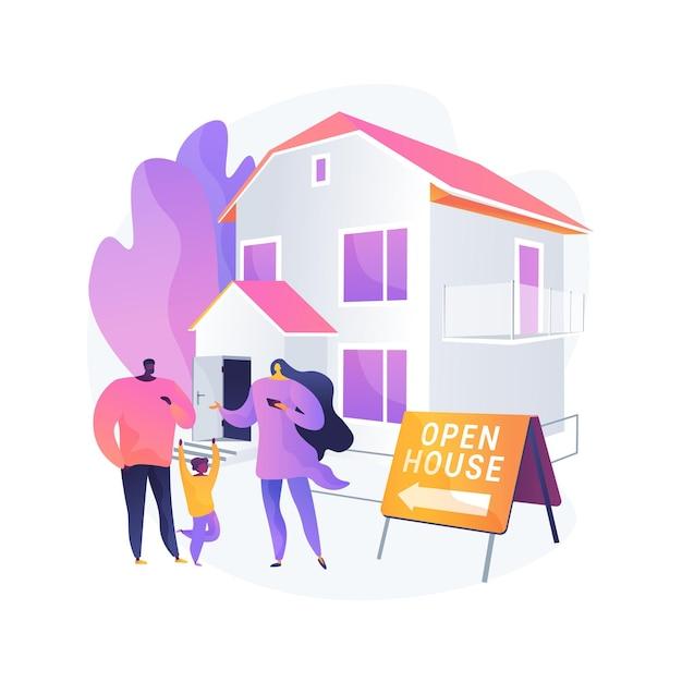 오픈 하우스 추상 개념 벡터 일러스트입니다. 검사 용 부동산, 판매용 주택, 부동산 서비스, 잠재적 구매자, 안내, 주택 준비, 평면도 추상 은유. 무료 벡터