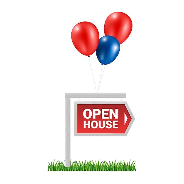 Концепция открытого дома с воздушными шарами Бесплатные векторы