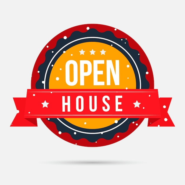 Open house label Free Vector