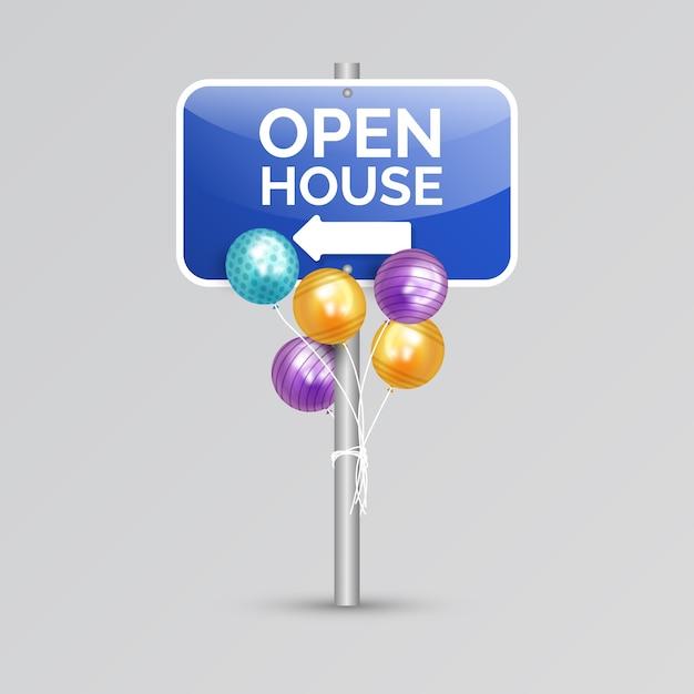 Знак открытых дверей с воздушными шарами Бесплатные векторы